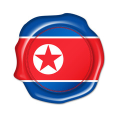 north korea button, seal, stamp, blank flag