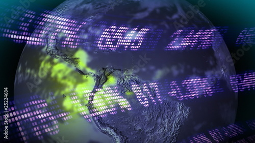 3d Stock Market with Globe in foreground