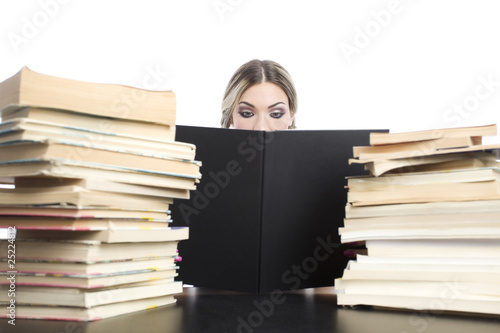 young pretty girl with books