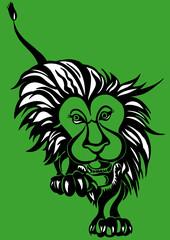 león sobre fondo verde