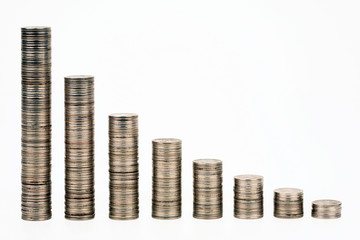 Columns from coins representing the credit status schedule