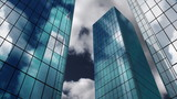 buildings animation  in 3D with clouds in background