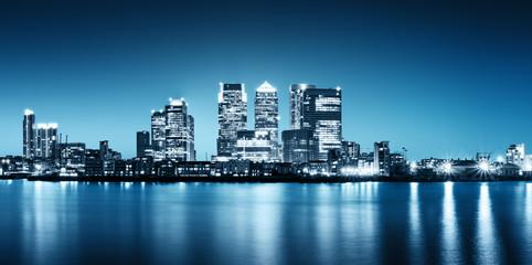 Panoramiczny obraz Canary Wharf widok od Greenwich.