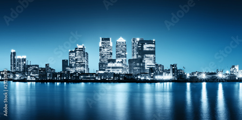 Fotobehang Londen Panoramic picture of Canary Wharf view from Greenwich.