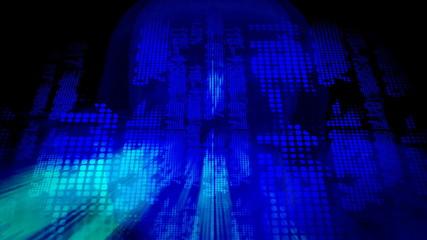 head of a digital boy turning into cyber space