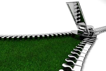 cremallera en hierba