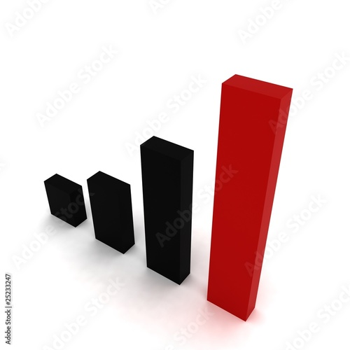 3D graphic bars 3 black 1 red
