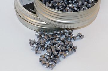Round metallic box of pellets ammo 3