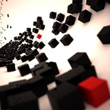 3D Black and Red Cubes