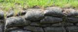 Trench from World War I, relic, fossilized sandbags