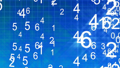 numbers in motion in a blue space