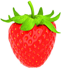 One large strawberry isolated over white