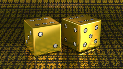 Two golden dies with gems over US dollar background