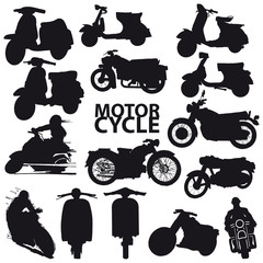 set of motorcycle vector