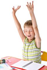 Yawning schoolboy