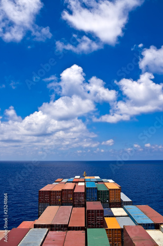 container cargo ship move to the sea