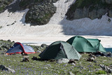Group of camping tents. poster