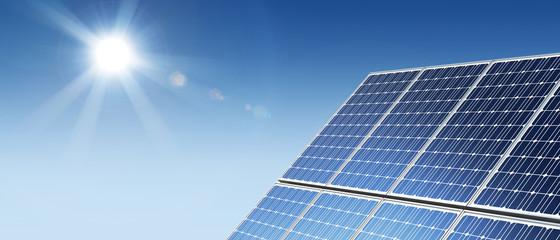 Solar panels panorama sun flare