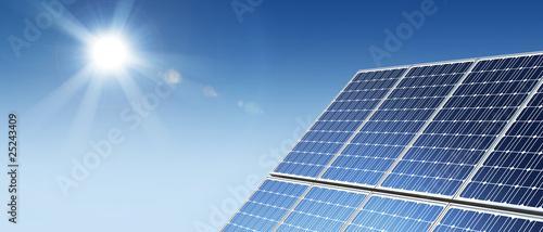 Solar panels panorama sun flare - 25243409