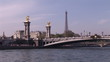 Eiffel tower statues and bridge from the river Seine