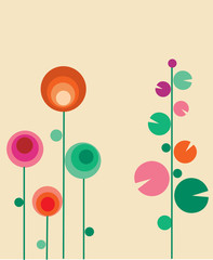 greeting card with abstract  flowers