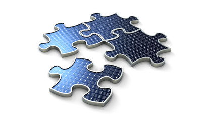 Solar construction puzzle four pieces