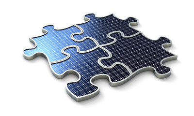 Solar puzzle four pieces