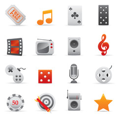 Entertainment Icons Set   Red Series 02