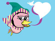 twitter bird girl on winter with heart style speech bubble