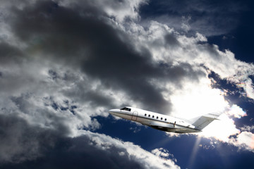 executive jets in the stormy sky II