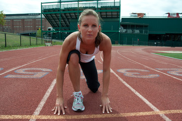 Woman at Starting Line on Track