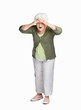Surprise senior woman shielding her eyes isolated against white
