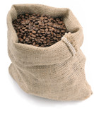 Fototapety Coffee beans in canvas sack