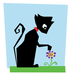 cute black cat with flower