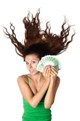 Beautiful woman lying and hold money euro isolated