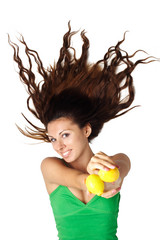 Beautiful woman show lemons hair is dishevelled isolated