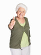 An elderly woman showing thumbs up sign isolated against white