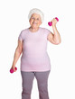Happy senior woman lifting dumbbells isolated against white
