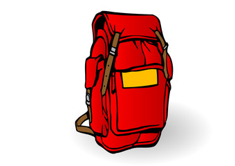 Vector illustration a red tourist backpack