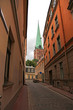 narrow street in Riga, Latvia