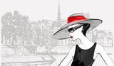 woman over Ile de la cite and Ile saint Louis in Paris backgroun