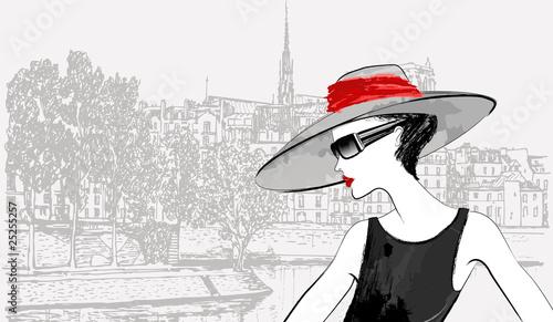 woman over Ile de la cite and Ile saint Louis in Paris backgroun