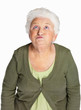 Mature woman making funny face isolated against white