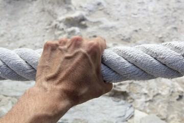 man hand grab grip strong big aged rope