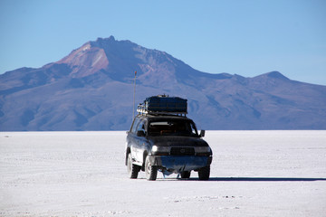 Car and salt desert