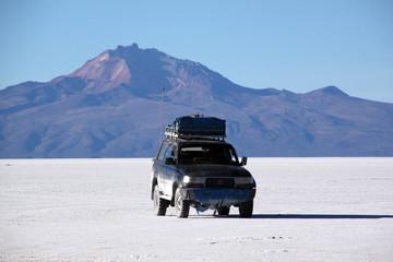 Car and salt desert