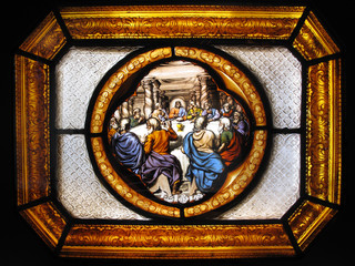 The Last Supper on a stained glass window panel