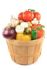Vegetables in wooden bushel basket.