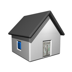 The small one-storeyed dollar house, 3d, a white background.