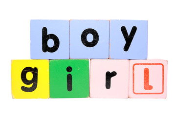 boy girl in play block letters with clipping path